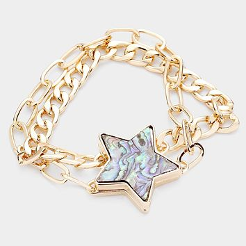 Abalone Star Accented Magnetic Bracelet