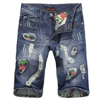 Summer Ripped Holes Stylish Pants Slim Jeans [6541765955]