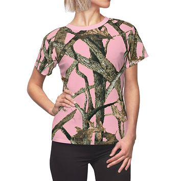 Ladies All Over Print Pink Camouflage Shirt With Hunting Pattern