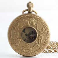NY All copper vintage mechanical pocket watch double opening double hit European festival moon phase antique bells Father's Day (Color: Copper) = 1747718404