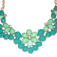 Teardrop Bib Necklace with Faceted Seafoam Baubles and Rhinestones
