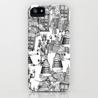 Doctor Who Toile de Jouy | 'Walking Doodle' | Black iPhone Case by Sharon Turner | Society6