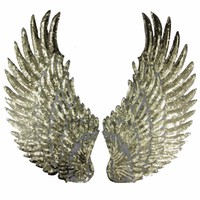 1 Pair Sliver Gold Sequins patch DIY Wings patches for clothes Sew-on embroidered patch motif applique