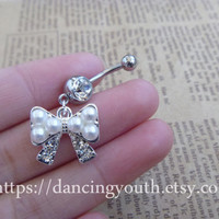 Pearl bow Charm Belly Button Ring, Crystal Belly Ring, body jewelry, belly Button jewelry,