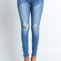 Kancan Jeans Medium Wash Ripped Skinny Jeans for Women KC6012M