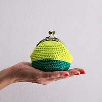 Crochet coin purse, the Lime Keeper, in lime and emerald green