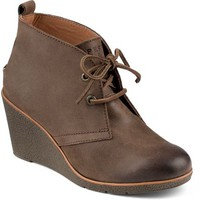 Sperry Top-Sider Harlow Burnished Leather Wedge Bootie DarkBrown, Size 11M  Women's Shoes