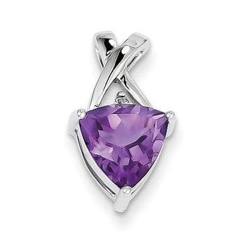Sterling Silver Amethyst Trillion And White Topaz Slide Pendant