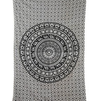 Craft N Craft India Tapestry Twin Black and White Hippie Elephant Mandala Tapestry Indian Traditional Beach Throw Wall College Dorm Bohemian Wall Hanging Boho Twin Bedspread Tapestries (Black &White)