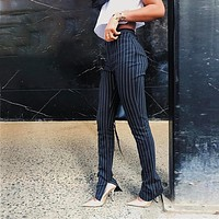 Office Pants For Women High Waist Striped Trousers Women Side Split  Skinny Long Bottom Have Stretchy