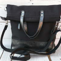 Unisex canvas leather TOTES tote bag Silvery Black Leather bag Black Foldover Crossbody bag