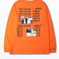 Kanye West T Shirt American Tide Brand Hip Hop The Life Of Pablo Long Sleeve T-shirt Orange Backing T-shirt I Feel Like Pablo