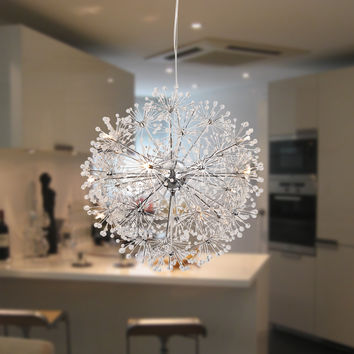 Contemporary Globe Crystal Pendant Light Max 120W with 11 Lights Chrome Finish