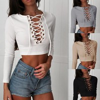 Casual Fashion Bandage Exposed Belly Button T-shirt