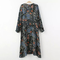 Stylish Floral Print Long Sleeve One Piece Dress [5013174596]