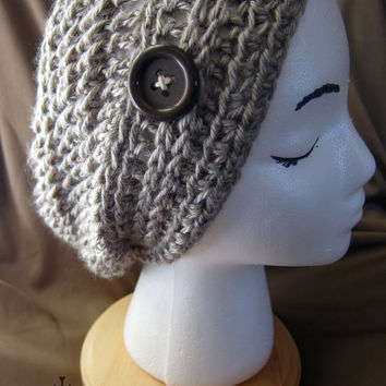 Pewter Crochet Slouch Beanie Hat with Button Silver Metallic Celtic Inspired Detailed Band