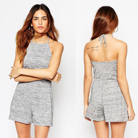 Halter Backless Elastic Waist Romper