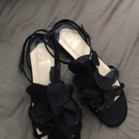 Christian Louboutin Sandals Black 37 37.5 38 Satan Leather Not Worn By Me