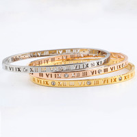 2016 Delicate Smart Roman Hollow Numerals Letter Stainless Steel Titanium Bangle Bracelets Crystal Rhinstones Women pulseiras