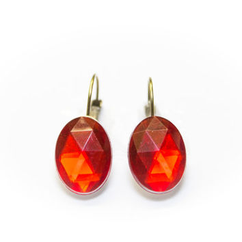 Red diamand shapes oval antique bronze dangle earring