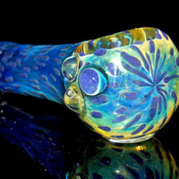 Purple Spotted Spoon Bowl - Thick Glass Smoking Pipe with Cute Purple 3D Color Dots and  Fumed with Silver