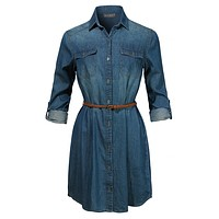 Long Sleeve Chambray Button Up Denim Shirt Dress with Faux Leather Belt (CLEARANCE)