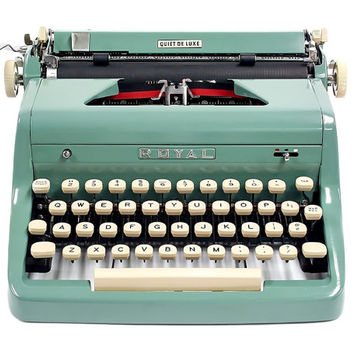 1955 Teal Green Royal Typewriter Quiet DeLuxe with Original Case and Vintage Metal Ribbon Spools