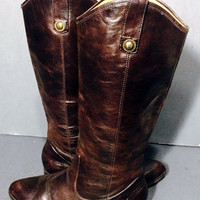 FRYE 77802 Cindy Pull On Brown Motorcycle Boots Women's Size 6.5