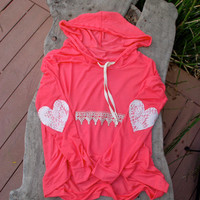 Lace Heart Elbow Patch Pullover High Low Hem Hoodie Top