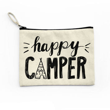 Happy Camper Canvas Pouch
