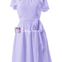 Light Iris Scoop Neck Party Gown Vintage Mauve Chiffon Bridesmaid Dress (BM1462)