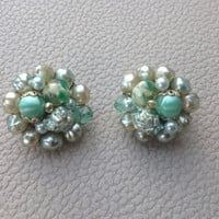 Vintage Mint Green and Ivory Beaded Clip On Earrings 1950's Glam