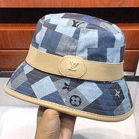 LV New Fashion Monogram Print Women Men Cap Hat Women