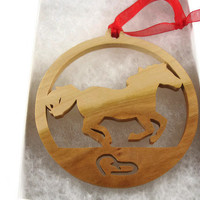 Running Horse With Horse Shoes Christmas Ornament Handmade From Cherry Wood By KevsKrafts