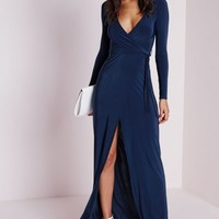 Missguided - Slinky Wrap Front Maxi Dress Navy