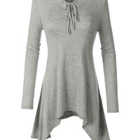 LE3NO Womens Flowy Long Sleeve Lace Up Handkerchief Tunic Top