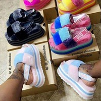 UGG fashion hot sale plush platform slippers plush slippers Shoes Boots