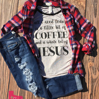 A Little bit of Coffee and Whole lot of Jesus Raglan (S to 3XL)