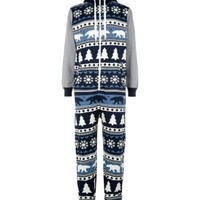 Blue and Grey Christmas Fairisle Hooded Onesuit