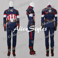 The Avengers 2 Captain America Steve Rogers Cospaly Costume Custom made in any size