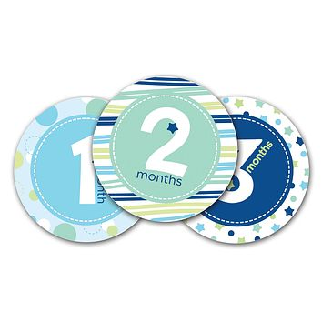 Pearhead First Year Monthly Milestone Photo Sharing Baby Belly Stickers, 1-12 Months, Blue Blue Belly Stickers