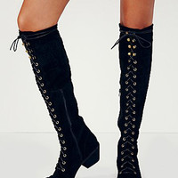Black Suede Lace Up Font Block Over the Knee Boots