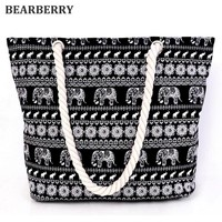 BEARBERRY ANIMAL ELEPHANT PRINTED CANVAS TOTE BAG