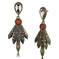 Earrings For Girls LO4180 Antique Copper Brass Earrings with Synthetic
