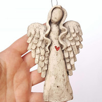 Guardian angel holy hanging wall gift decor faux stone polymer clay