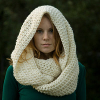 Chunky Oversized Hooded Infinity Scarf, Cream, Off-white, Christmas in July Sale, CIJ