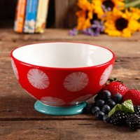 """The Pioneer Woman Flea Market 6"""" Decorated Footed Bowls, Red Dot Teal (Available in Set of 4 or Single) - Walmart.com"""