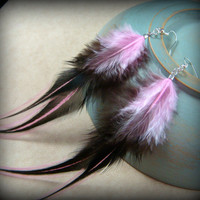 """Pink and Black Feather Earrings - Goth, Rave, Punk, Steampunk Feather Earrings - Black and Bubblegum Pink 5"""" Feather Earrings"""