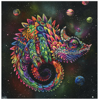 Chameleon Art Print - Surreal Art - Rainbow Lizard - Trippy Art - Wall Art - Rainbow Herbert by Black Ink Art
