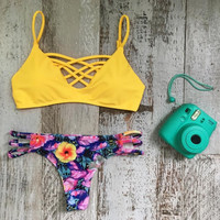 Sexy Yellow Floral Bikini Set Beachwear Swimsuits Two Piece + Free Gift Summer Necklace